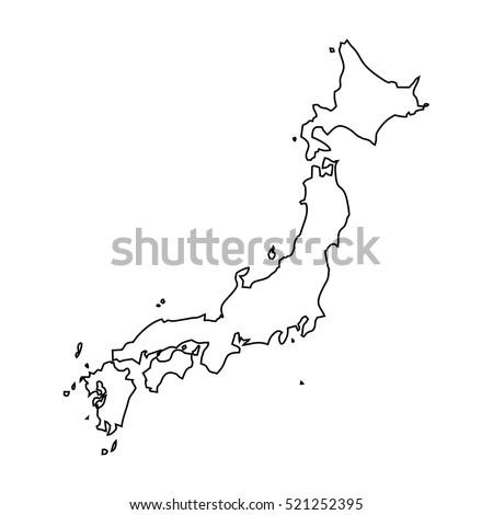Map Black Outline Japan Stock Vector Shutterstock - Japan map outline
