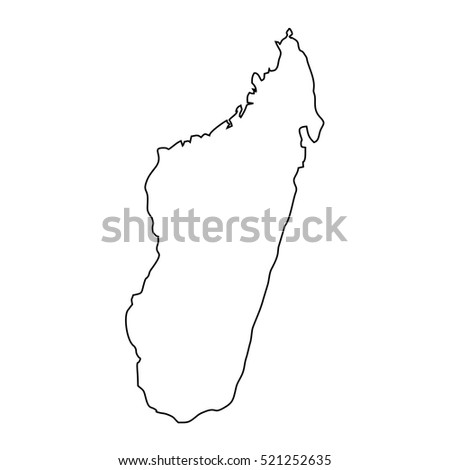 Map Black Outline Madagascar Stock Vector Shutterstock - Madagascar map outline