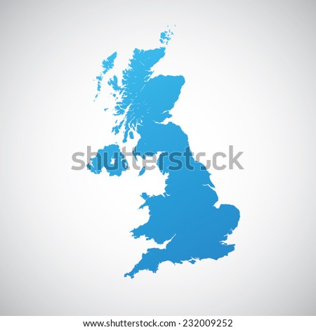 map blue of United Kingdom  - stock vector