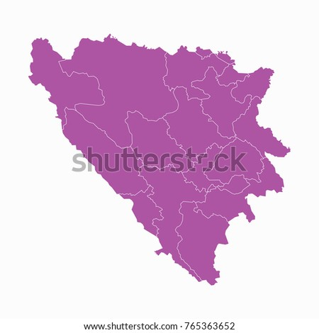 Map-Bosnia Herzegovina Cantons map. Each city and border has separately. Vector illustration eps 10.