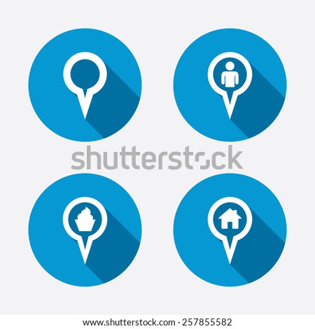Map circle pointer icons. Home, food and user location symbols. Restaurant and cupcake signs. You are here. Circle concept web buttons. Vector - stock vector