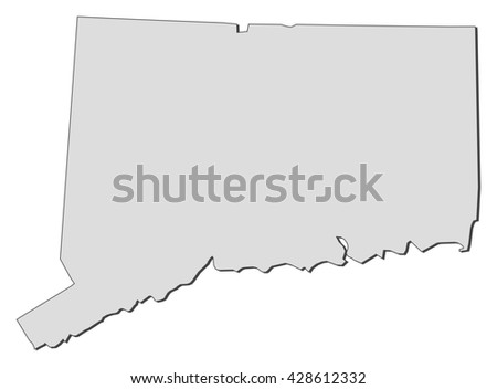 Map - Connecticut (United States) - stock vector