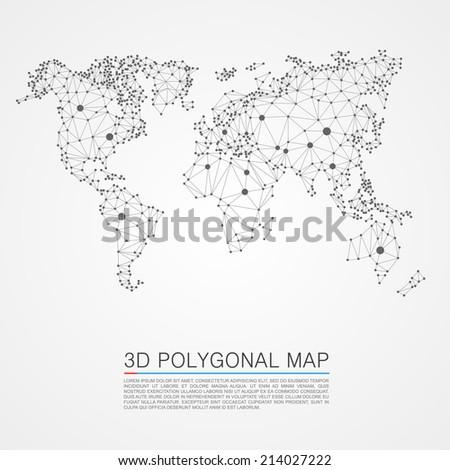 Map 3d polygon. Vector illustration - stock vector