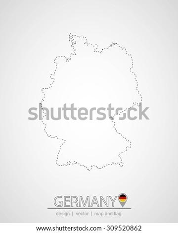 map design of germany, vector illustration, graphic design, location germany, map germany - stock vector