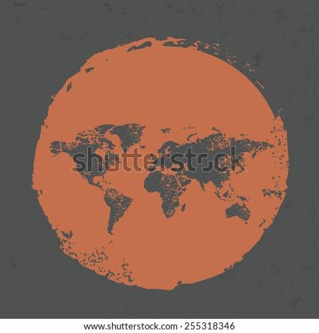 Map design on grunge background, grunge vector - stock vector