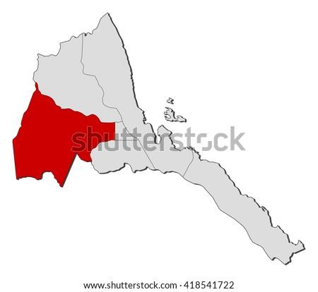 Map - Eritrea, Gash-Barka - stock vector