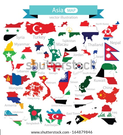 Map. Flag of Asia. vector Illustration.