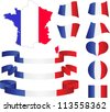 Map, flag, ribbons, heart and ball of France, vector illustration - stock vector