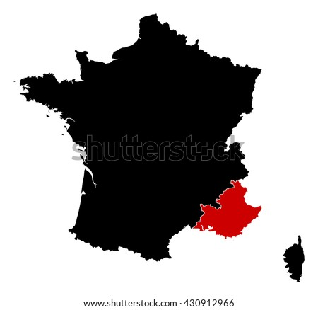 Map - France, Provence-Alpes-Cote d'Azur - stock vector