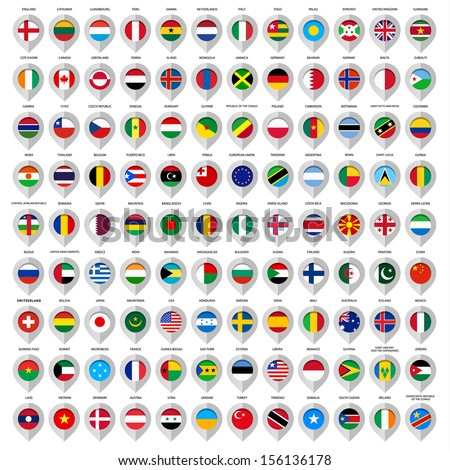 Map Gray Marker Flags Country European Stock Vector - Argentina map from india