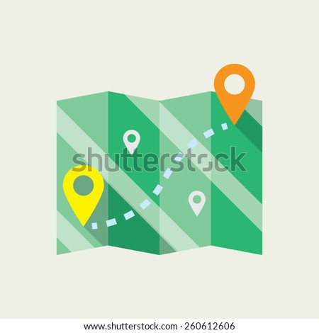 Map icon. Flat design - stock vector