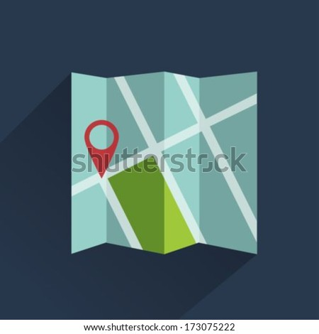 Map icon flat style - stock vector