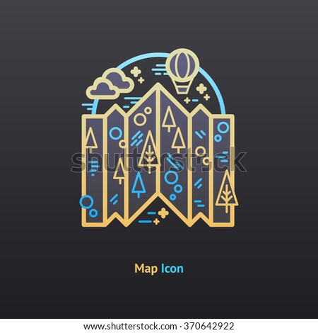 Map  icon. Part of the travel vacation icon set.  - stock vector
