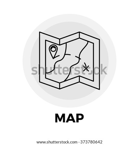 Map icon vector. Flat icon isolated on the white background. Vector illustration. - stock vector