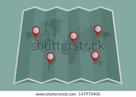 Map icon with pin pointer  , eps10 vector format - stock vector