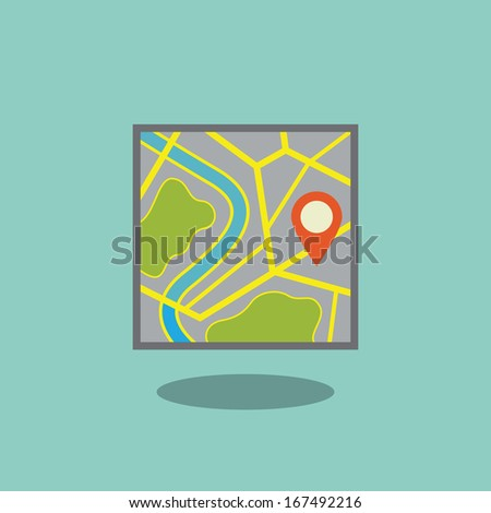 Map icon with pointer - stock vector