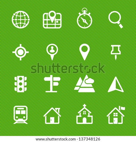 Map Icons and Location Icons with Green Background - stock vector