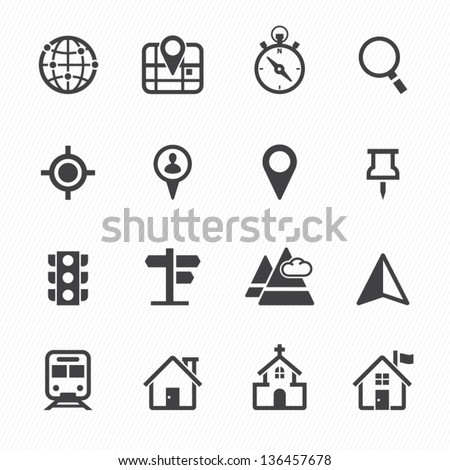 Map Icons Location Icons White Background Stock Vector 136457678 ...