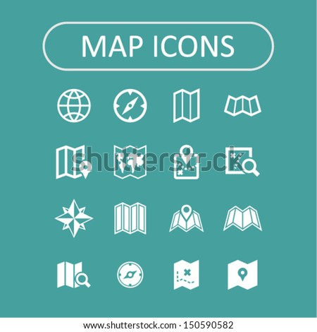 Map icons collection - stock vector