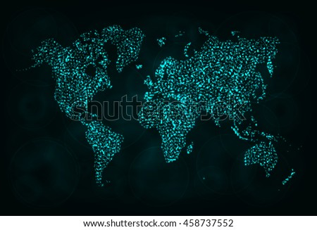 Map Illustration Icon, Cyan Color Lights Silhouette on Dark Background. Glowing Lines and Points. World Map. World Map. World Map. World Map. World Map. World Map. World Map. World Map. World Map. - stock vector