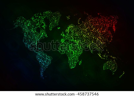 Map Illustration Icon, Gradient Color Lights Silhouette on Dark Background. Glowing Lines and Points. World Map Vector. World Map Vector. World Map Vector. World Map. World Map. World Map. World Map. - stock vector