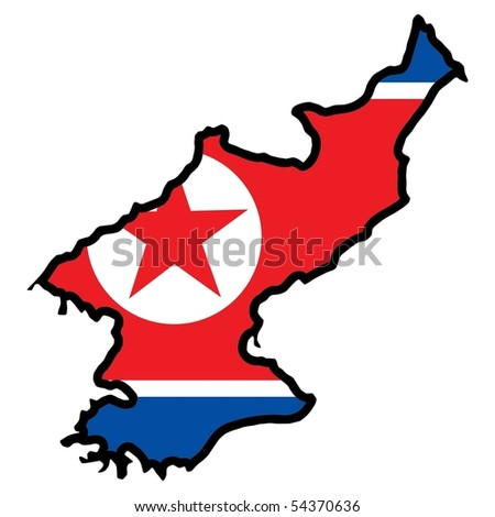 map in colors of North Korea