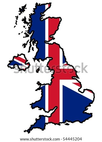 map in colors of United Kingdom - stock vector