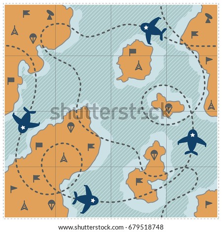 Map Frame Dotted Route Airplanes Military Stock Vector 679518748 ...
