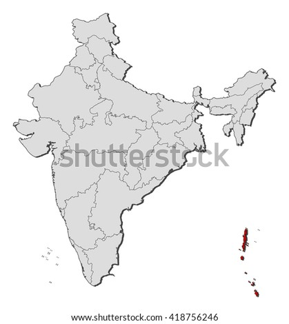 Map - India, Andaman and Nicobar Islands - stock vector