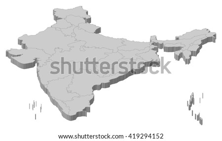 Map - India - 3D-Illustration - stock vector