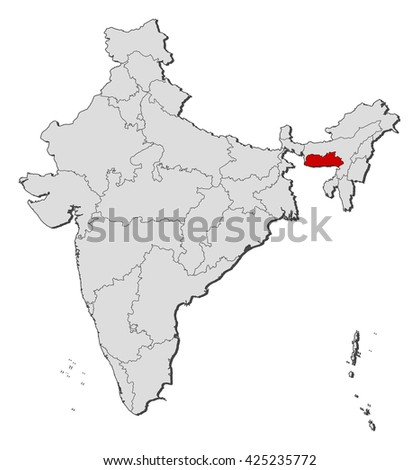 Map - India, Meghalaya - stock vector