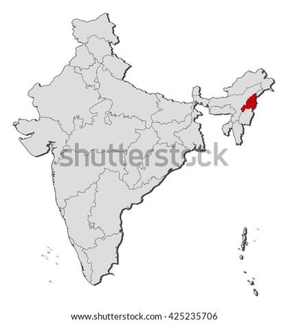 Map - India, Nagaland - stock vector
