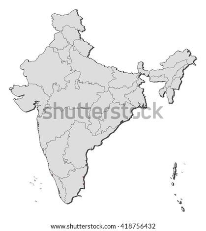Map - India, Puducherry - stock vector