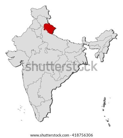 Map - India, Uttarakhand  - stock vector