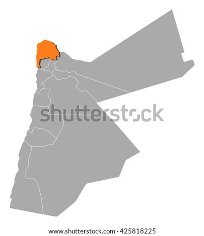 Map Jordan Irbid Stock Vector 425818225 Shutterstock