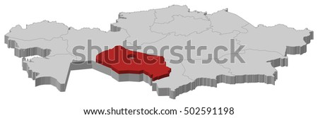 Map Kazakhstan Kyzylorda 3dillustration Stock Vector 502591198