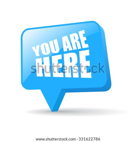 Map location pointer, you are here - stock vector