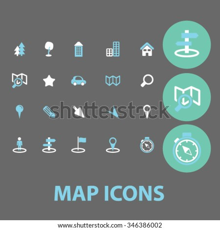 map, location, route  icons, signs vector concept set for infographics, mobile, website, application  - stock vector