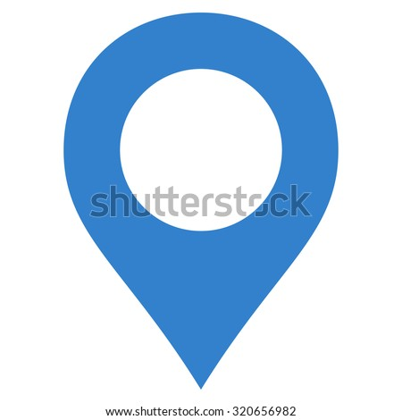 Map Marker icon from Primitive Set. This isolated flat symbol is drawn with cobalt color on a white background, angles are rounded. - stock vector