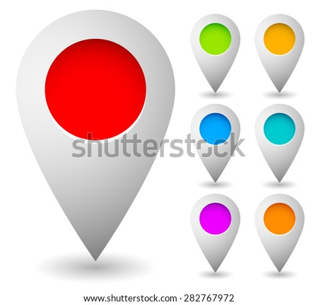 Map marker, map pin vector. Map markers with circles with blank space. 7 colors. Vector graphics. - stock vector