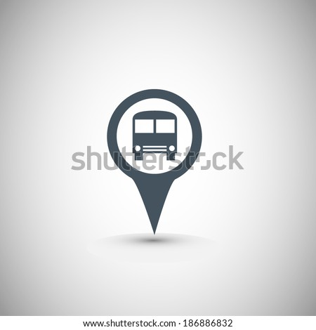 Map marker with Bus icon, vector illustration. Flat design style  - stock vector