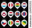 Map marker with flag-set fifth. In this set icons, I drawed these flags: Netherlands, Czech republic, Aland, Senegal, Ghana, Peru, Greenland, Guyane, Luxembourg, Hungary, Yemen, Mongolia - stock photo