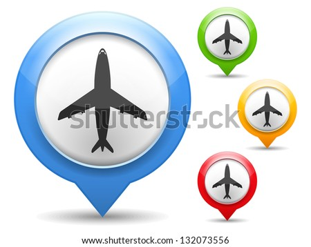 Map marker with icon of airplane, vector eps10 illustration - stock vector