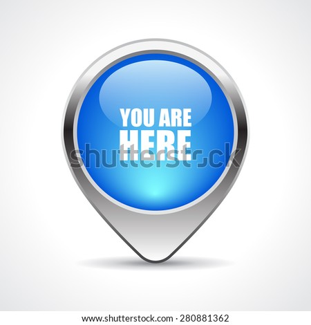 Map marker, your are here - stock vector