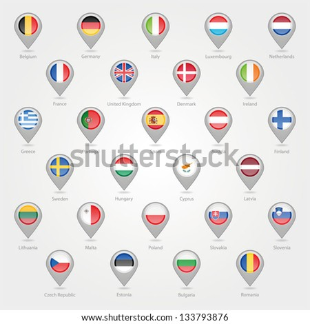 Map markers depicting the EU - stock vector