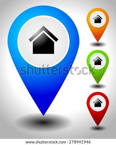 Map markers, map pins with house symbol, vector. - stock vector