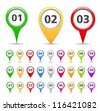 Map markers with numbers, vector eps10 illustration - stock vector