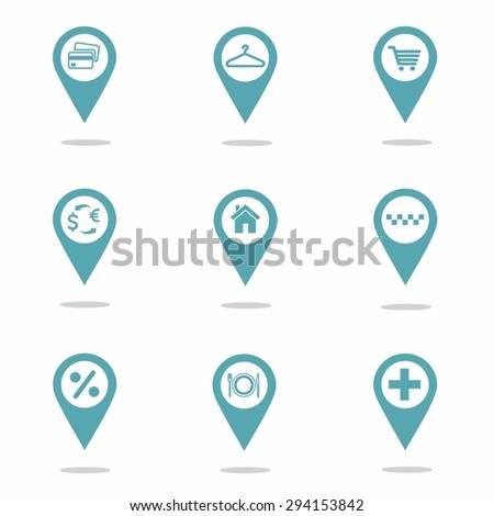 Map markers with shopping icons, blue. vector  illustration
