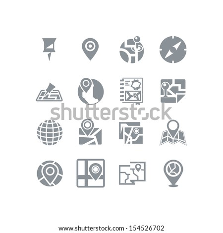 Map & navigation icon set - stock vector
