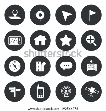 Map navigation icons set vector  - stock vector